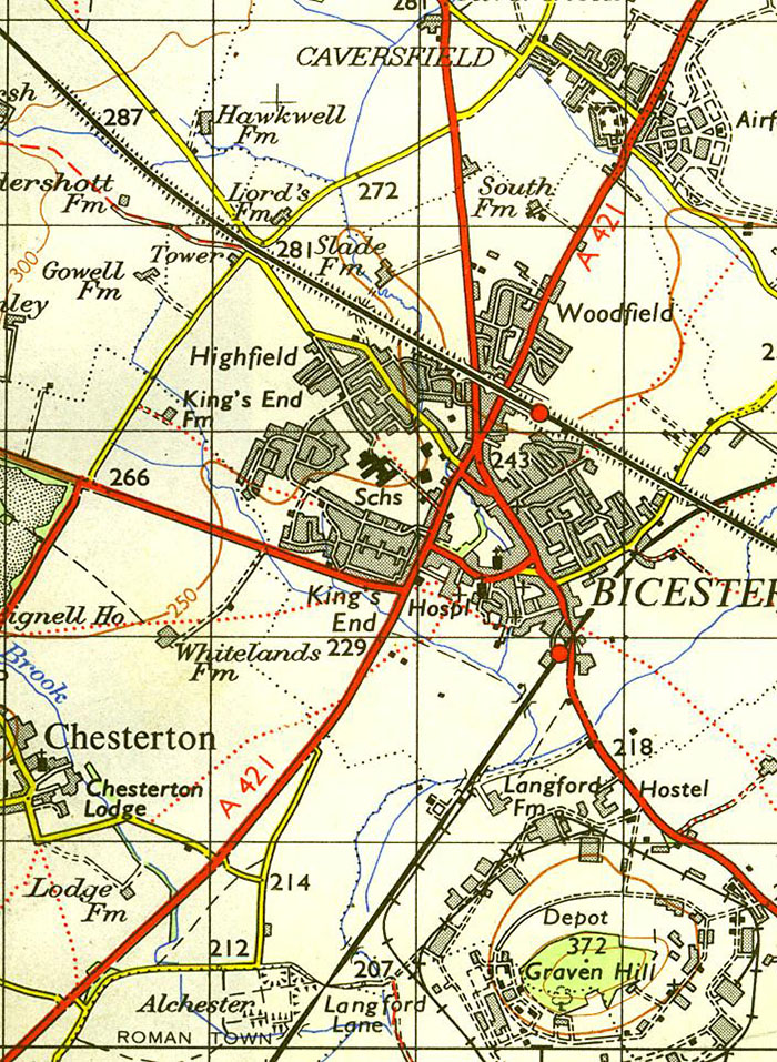 and banbury rd and the construction of the highfield estate is under way however the map had not been updated to show the airfield north of the town